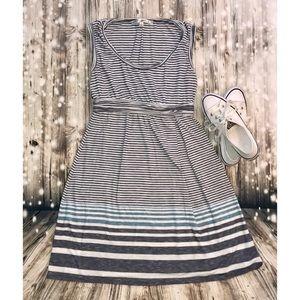 Max Studio white blue striped dress size L